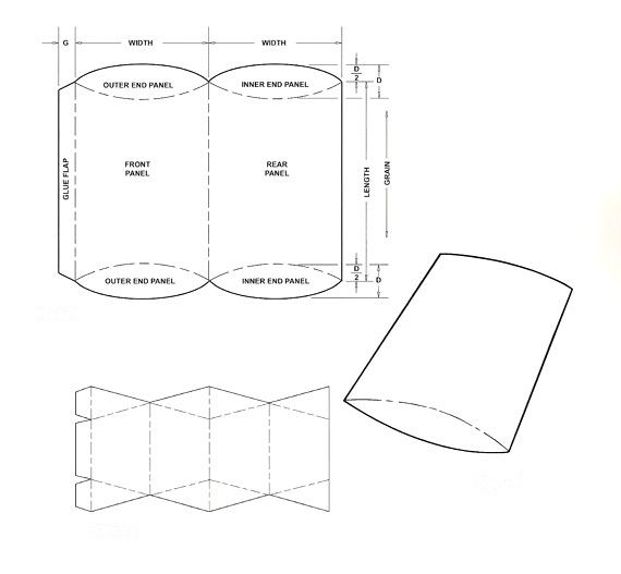 cylinder packaging template - pillow box template corrugated and folding carton box