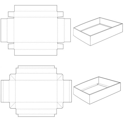 tray and lid carton box template