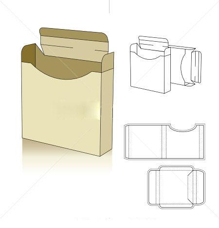 square profile box template vector corrugated and folding carton box templates. Black Bedroom Furniture Sets. Home Design Ideas