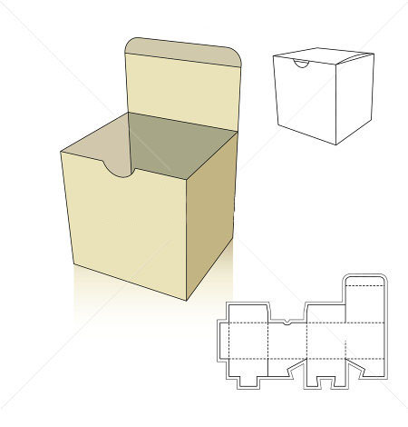 Square box template with nail bit | Corrugated and folding carton ...