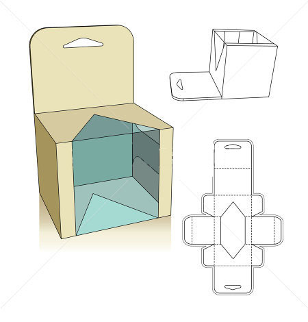 Carton box template corrugated and folding carton box for Window design template